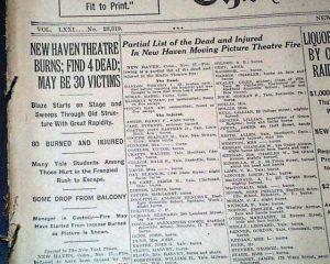 incendio teatro Rialto de New Haven (pacientes quemados)