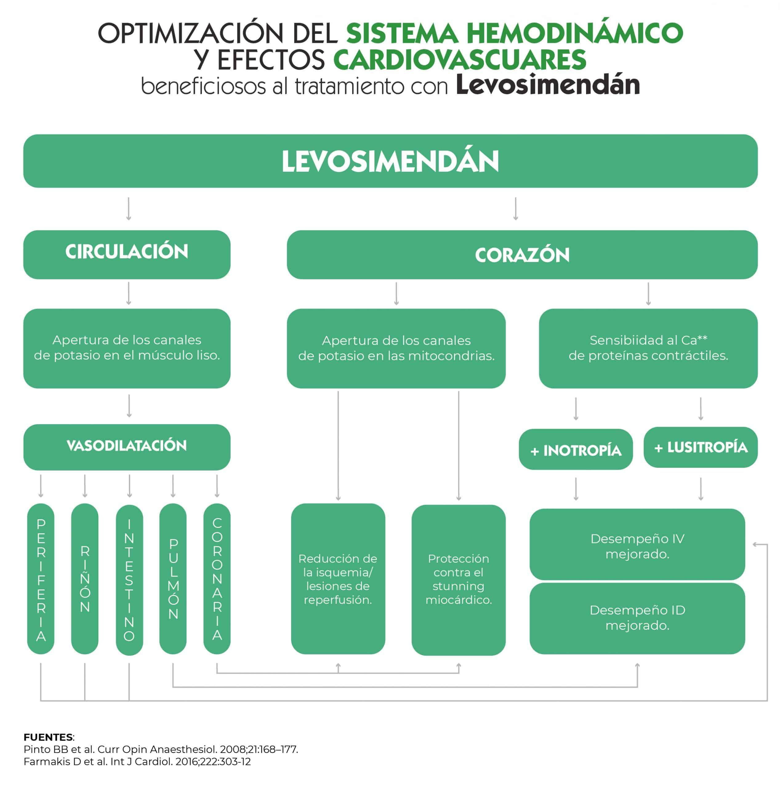 Figura 4: Optimización del sistema hemodinámico y efectos cardiovasculares beneficiosos asociados al tratamiento con Levosimendán [21,22].